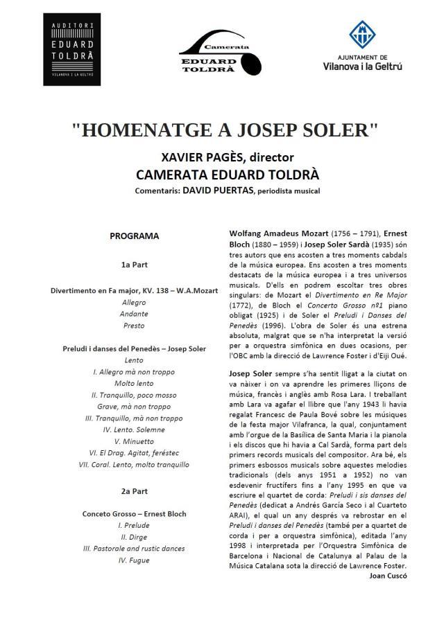 Programa de mà, concert, camerata eduard toldrà, homenatge Joan soler, xavier pagès, associació musical eduard toldrà