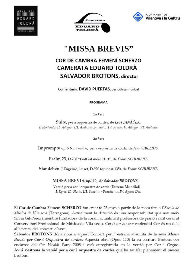 PROGRAMA DE MÀ MISSA BREVIS CARA A