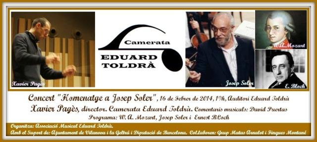 Camerata Eduard Toldrà, Concert Homenatge Josep Soler, Xavier Pagès